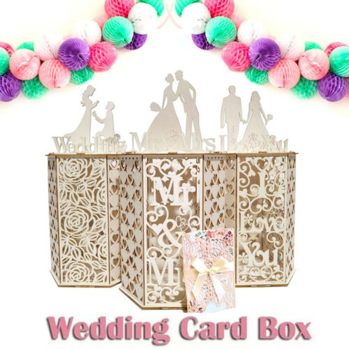 Wedding Card Box Mailbox Receptions Baby Shower Wooden Hexagon Collection Gift