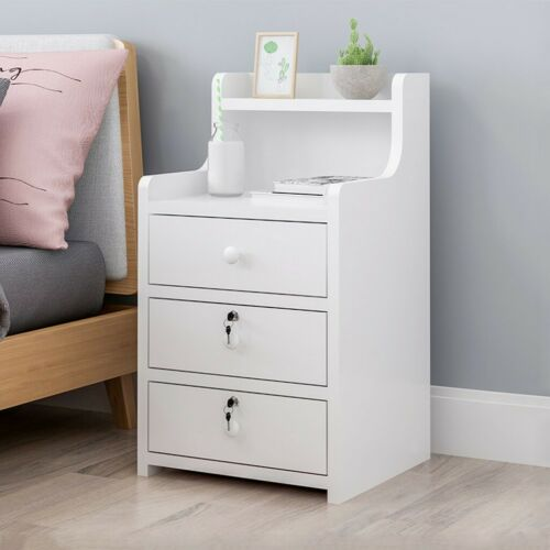 Modern End Table Bedroom Nightstand Coffee Table 3 Drawer With Lock Cabinet
