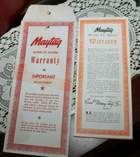 VTG MAYTAG MODEL E2 MASTER WARRANTY Papers for Wringer Washing Machine Pristine!