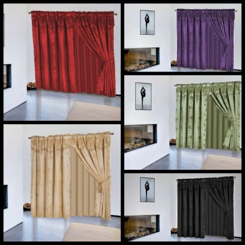8Pc Window Dressing Curtain Complete Set All Attached in One Curtain Leaf NADA