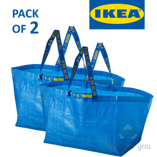 2x IKEA Bag, Blue, Large Size 19 gallon Shopping Laundry Grocery Bag Durable