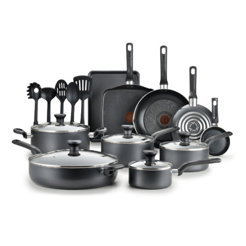 T-fal Easy Care Nonstick Cookware, 20 piece Set, Grey, B087SKDW