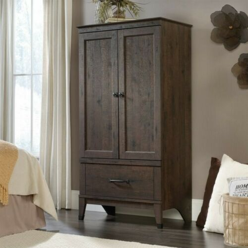 Sauder Carson Forge Armoire in Coffee Oak