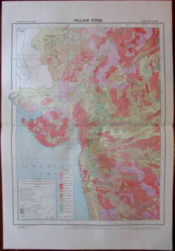 W India Gujarat Thana Bombat Ratlam Dhar 1979 huge National Atlas of India map