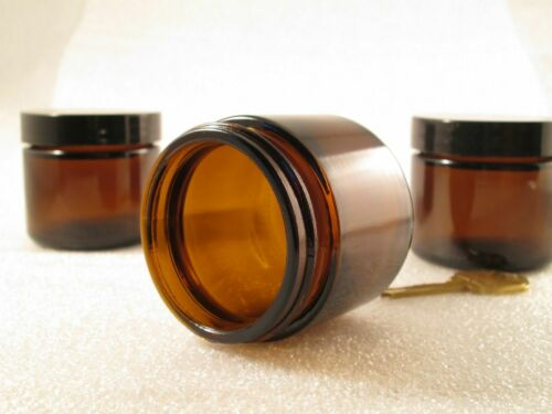 24 or 48, Clear / Amber Glass cream Jars 2oz, Choose Lid, Balm Salve Lotion Oil