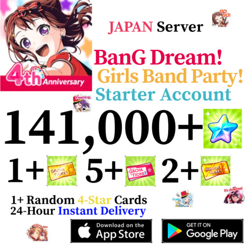 [JP] [INSTANT] 141000+ Gems + 4* + More!   BanG Dream Account Girls Band Party