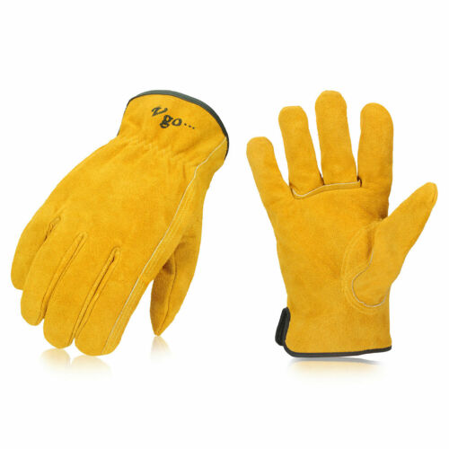 Vgo 1/2/3/9 Pairs Unlined Cowhide Split Leather Work Gloves, Heavy Duty(CB9501-G)