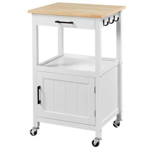 Kitchen Island Cart with Drawer and Storage Cabinet On Wheels For Dining Rooms