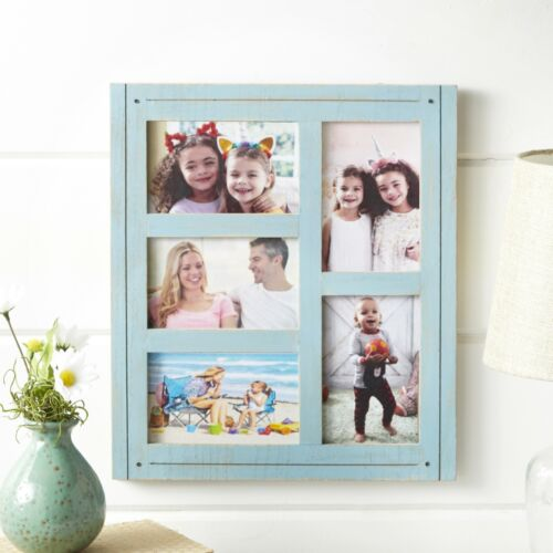 Distressed Finish 5-Slot Collage Wall Hanging Photo Frame