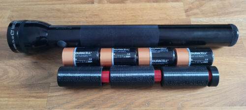 3x 18650 Li-Ion to 4D-Cell Maglite Adapter - Flashlight conversion w/ LED option
