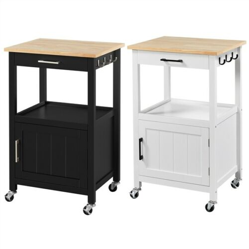 Kitchen Island w/Wood Top, Drawer & Cabinet, Trolley Cart on Wheels with 3 Hooks