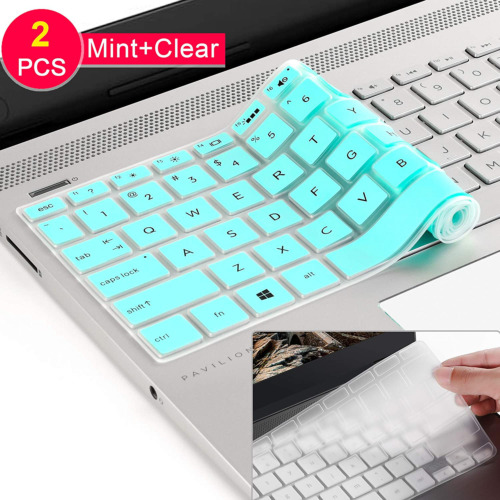"""[2 Pack] Keyboard Cover Skin for 15.6"""" HP Pavilion x360 15-BR075NR, Envy X360 15M"""