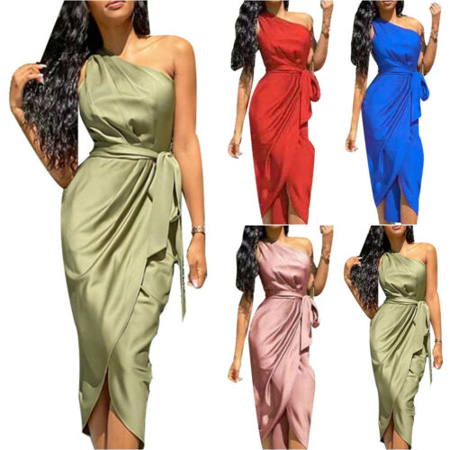 Womens One Shoulder Irregular Lace Up Maxi Dress Ladies Evening Party Ball Gown
