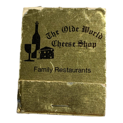 VINTAGE OLD WORLD CHEESE SHOP MATCH BOOK FULL UNUSED UNSTRUCK ADVERTISEMENT