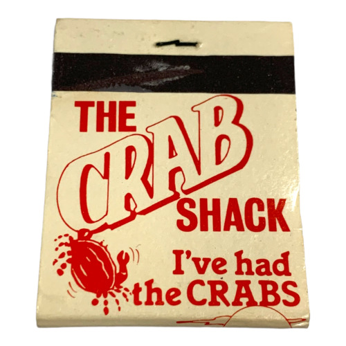 VINTAGE THE CRAB SHACK FL MATCH BOOK FULL UNUSED UNSTRUCK ADVERTISEMENT COVER
