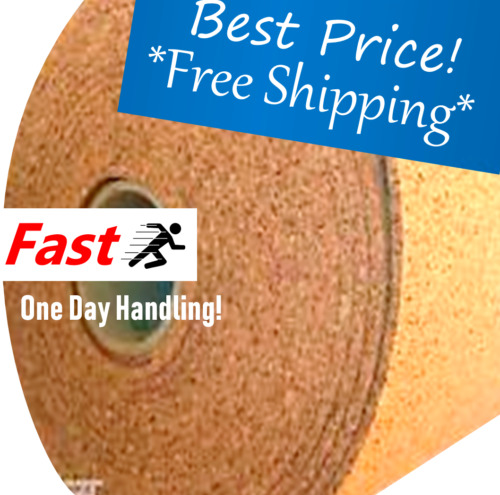 """CORK Board Cork Roll 4' ft wide (BY THE FOOT) 1/4"""" 1 ROLL CHOOSE SIZE wall craft"""