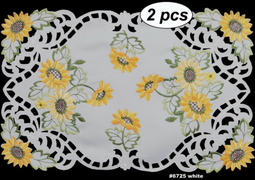 Embroidered Sunflower Cutwork Placemat Table Runner Tablecloth Topper White 6725