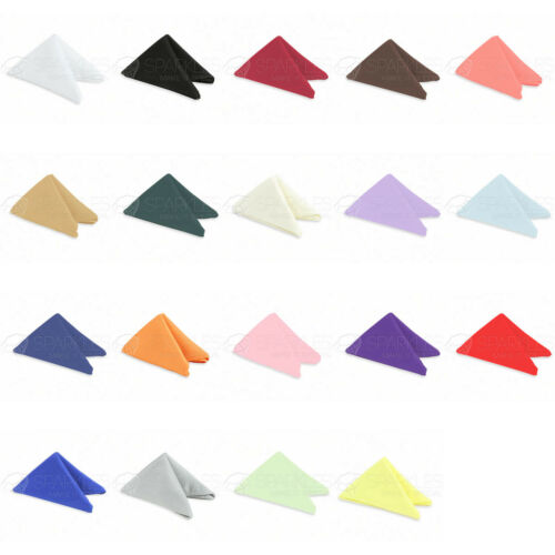 """50 pcs 17""""x17"""" or 20""""x20"""" Polyester Cloth Linen Dinner Napkins with or w/o Rings"""
