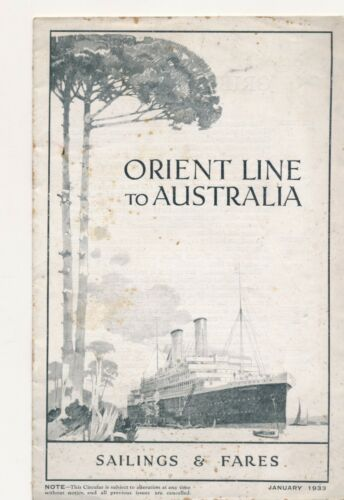 Orient line to Australia  Sailings and fares 1933  EP1