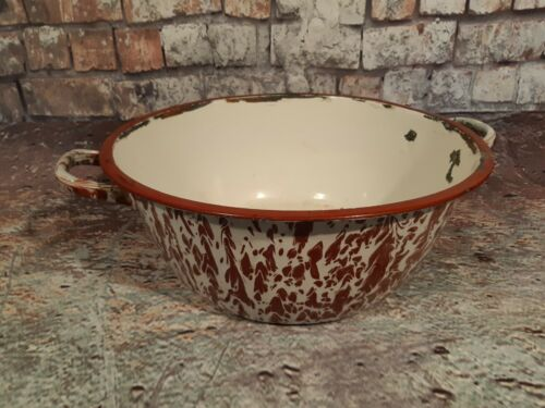 Vintage Retro French Enamel Bowl Garden Planter Plant Pot Marble Brown White