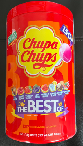 NEW Chupa Chups 150 Lollipops Bulk Buy Jar Assorted Flavours Lollies Lolly Pack!