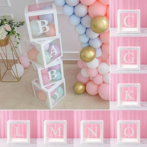"""12"""" Baby Shower Box White Letter Transparent Boxes Wedding Party Decoration Love"""