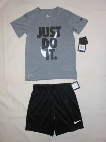 NWT Nike Little Boys 2pc grey shirt and black short outfit set; size 6