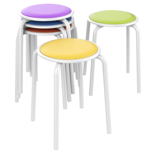 """Stack Kid Stools Chairs for Classroom Students Padded Seats 17.7"""" H Pack of 5"""