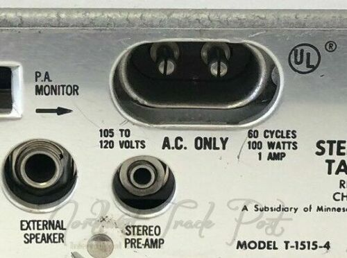 2-Prong AC Power Cord for Wollensak Magnetic Tape Recorder Reel To Reel Model