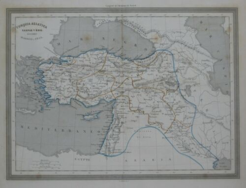 Original 1852 Gaspar & Roig Map ASIA MINOR Armenia Anatolia Turkey Syria Cyprus