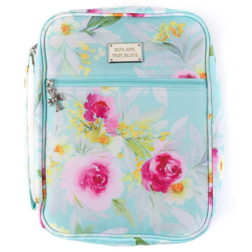 Bible Case Cover for Women Organizer with Handles and Pockets Teal Floral