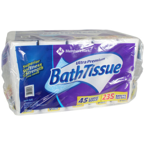 Premium Soft and Strong Bath Tissue, 2-Ply Large Roll Toilet Paper (45 rolls)