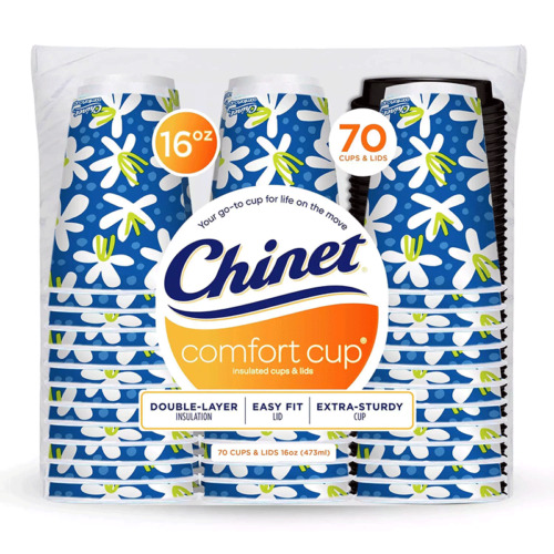 Chinet Comfort Cup Hot Cups & Lids 16oz. 70 Count
