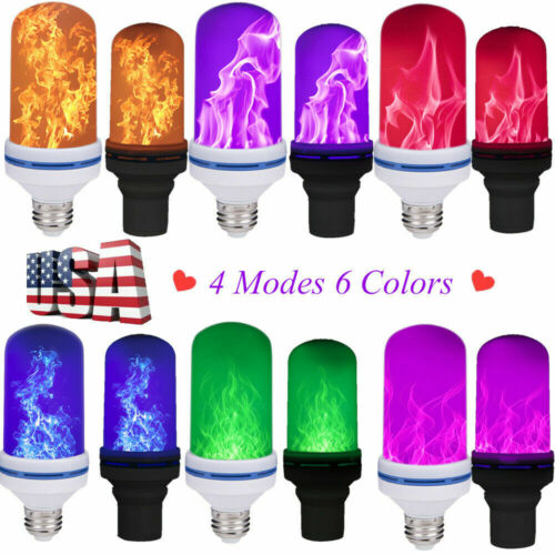 4 Modes E27/26 LED Flicker Flame Effect Fires Light Bulb Flickering Lamp Home US