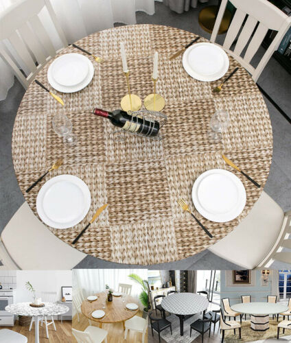 Vinyl Tablecloth Round Waterproof Fitted Elastic Flannel Moroccan Table cover