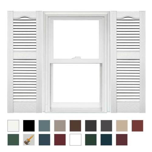 1 Pair of Mid America Open Louver Vinyl Shutters 14.5 Inches