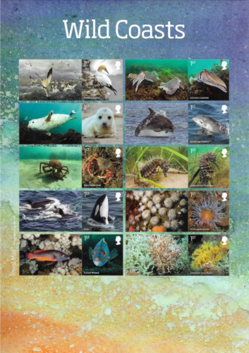 2021 GB.- WIld Coasts - Full Smiler Sheet - Mint and Never Hinged.