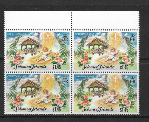 1995 Solomon Islands - Christmas Issue - Block of Four  - Mint and Never Hinged.