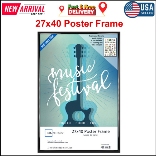 27x40 in Trendsetter Collage Poster & Picture Frame Black Home Decor Lightweight