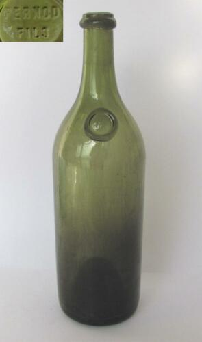 19C. pre-1914 ANTIQUE HANDBLOWN GREEN GLASS ABSINTHE BOTTLE PERNOD FILS