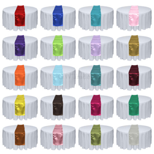 """1/5/10/20pcs 12"""" x 108"""" Satin Table Runner Wedding Party Banquet Decorations"""