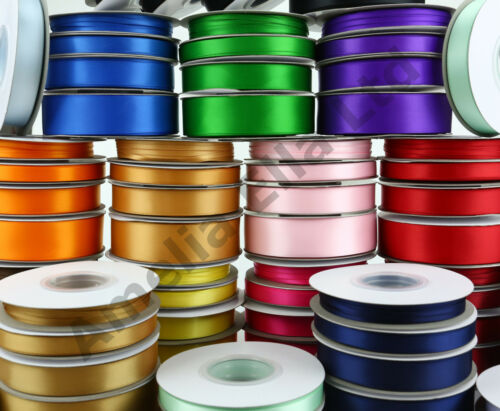 25m/50m Double Sided Faced SATIN Quality Tying Ribbon 3, 10, 15 & 25mm Widths