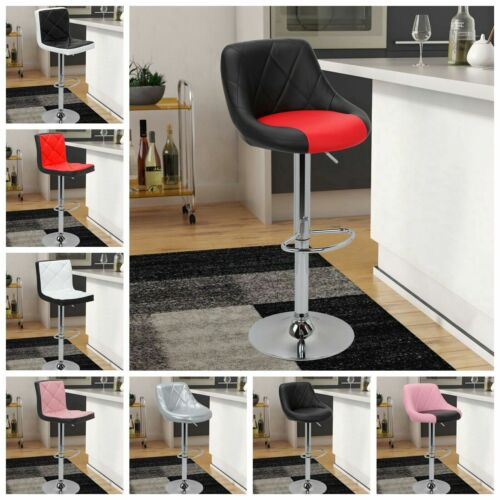 Set Of 2 Extra Comfort Bar Stool Back Support Adjustable Swivel Dining Pub Chair