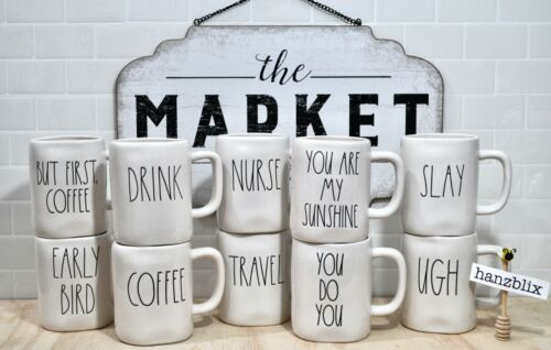 """Rae Dunn """"YOU CHOOSE"""" Mugs *SAVE ON SHIPPING* Large Letter Farmhouse NEW '20-'21"""