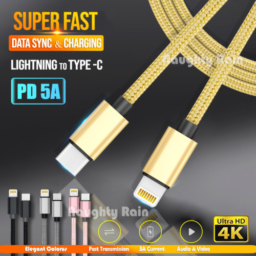 Fast Charging USB Type C 60W PD Charger Data Cable Cord Apple iPhone iPad