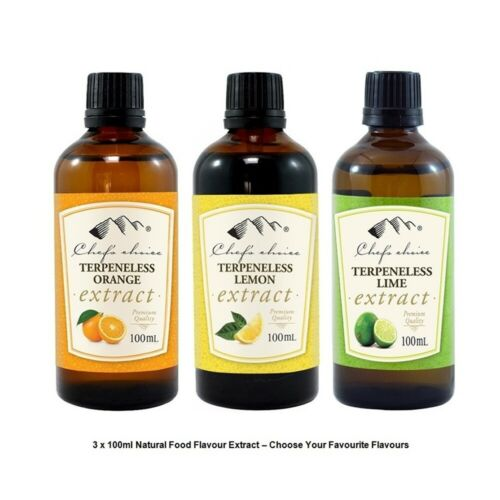 3 x 100ml Chef's Choice Pure Natural Food Flavour Extract-Lemon Lime & More