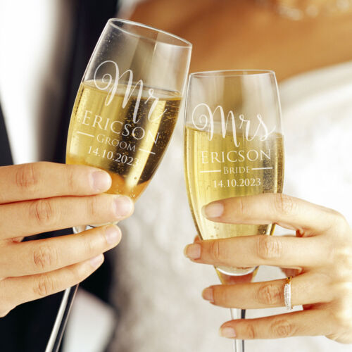 2x Bride Groom Personalised Engraved Wedding Toasting Champagne Glasses Flutes