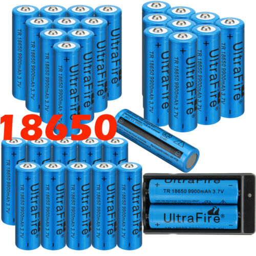 20×9900mAh Battery 3.7v Li-ion Rechargeable Batteries+Smart Charger For Headlamp