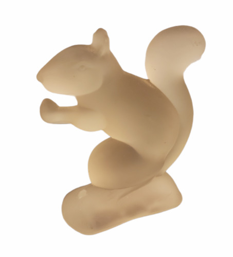 Vintage Squirrel Holding Acorn Frosted Glass Figurine