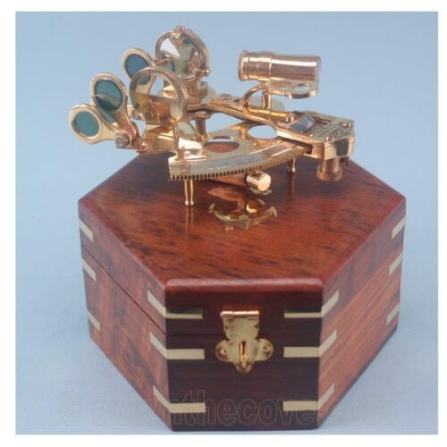 Brass Sextant in Nautical Wooden Box - Great Marine Gift - Fast Tracked Post!